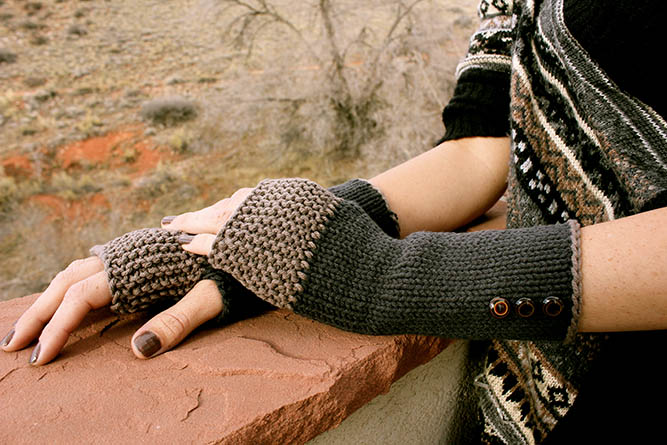 Free knit fingerless glove pattern. These knit mitts make a super fast DIY gift idea and are endlessly customizable. Click for tutorial. | MakeAndDoCrew.com
