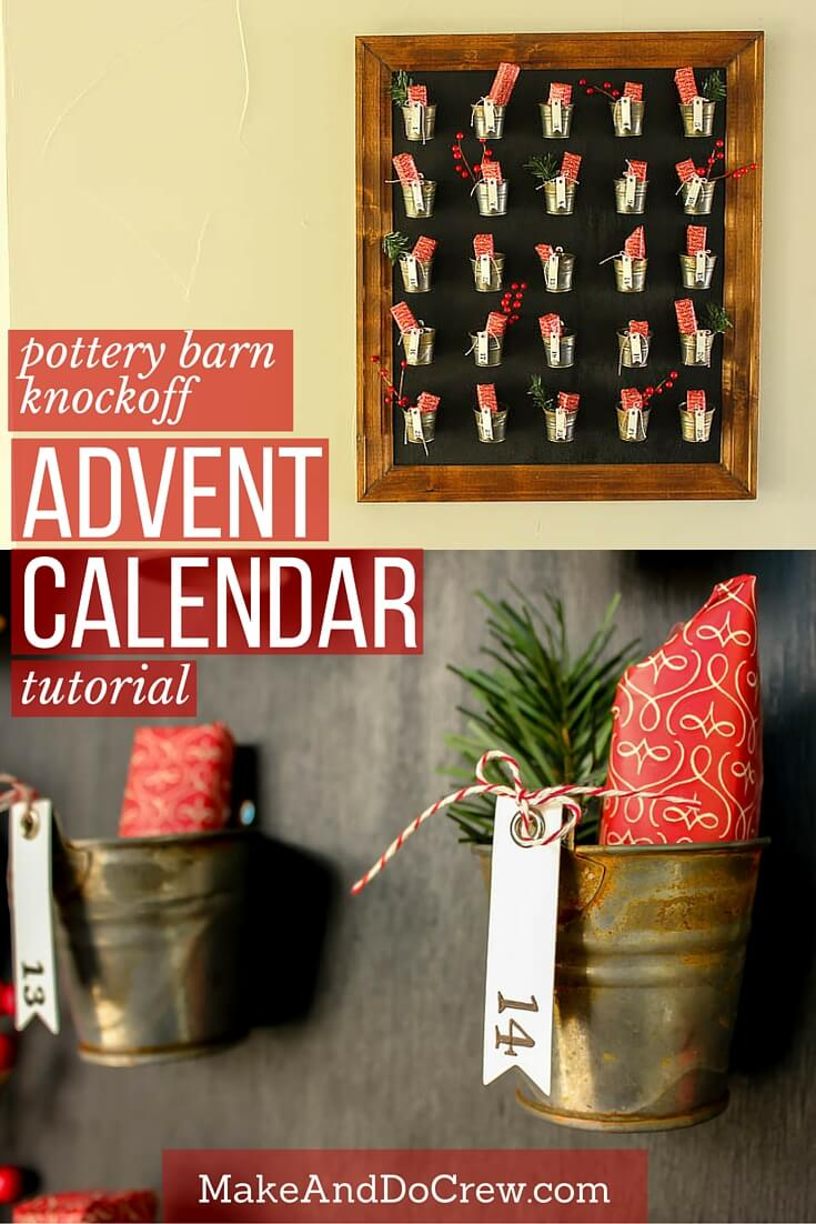 DIY Pottery Barn Knockoff Advent Calendar. Pottery Barn's version costs $159, but you can make this one for $40 or less. Add lots of rustic holiday charm to your Christmas decor. Step-by-step tutorial with lots of details! | MakeAndDoCrew.com