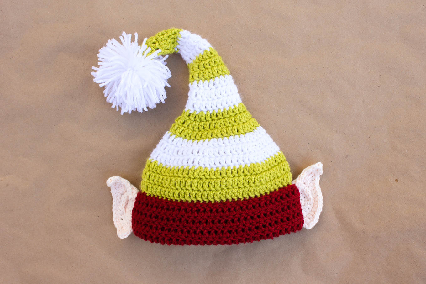 Free Crochet Pattern Long Elf Hat : Santas Helper Free Crochet Elf Hat Pattern (With Ears!)