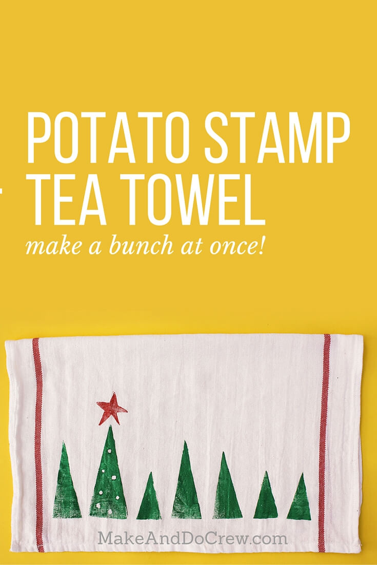 Potato stamp tea towel craft--a perfect DIY Christmas gift idea to make a bunch of at one time. They work out to about $1 each, which makes them an easy, inexpensive gift for everyone. This is a craft project parents can do with kids too! Click to view full step by step tutorial. | MakeAndDoCrew.com