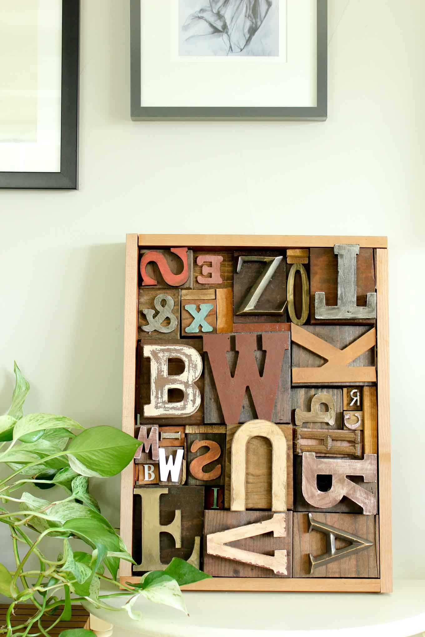 Diy art idea with faux letterpress print blocks make for Wooden letters for crafts