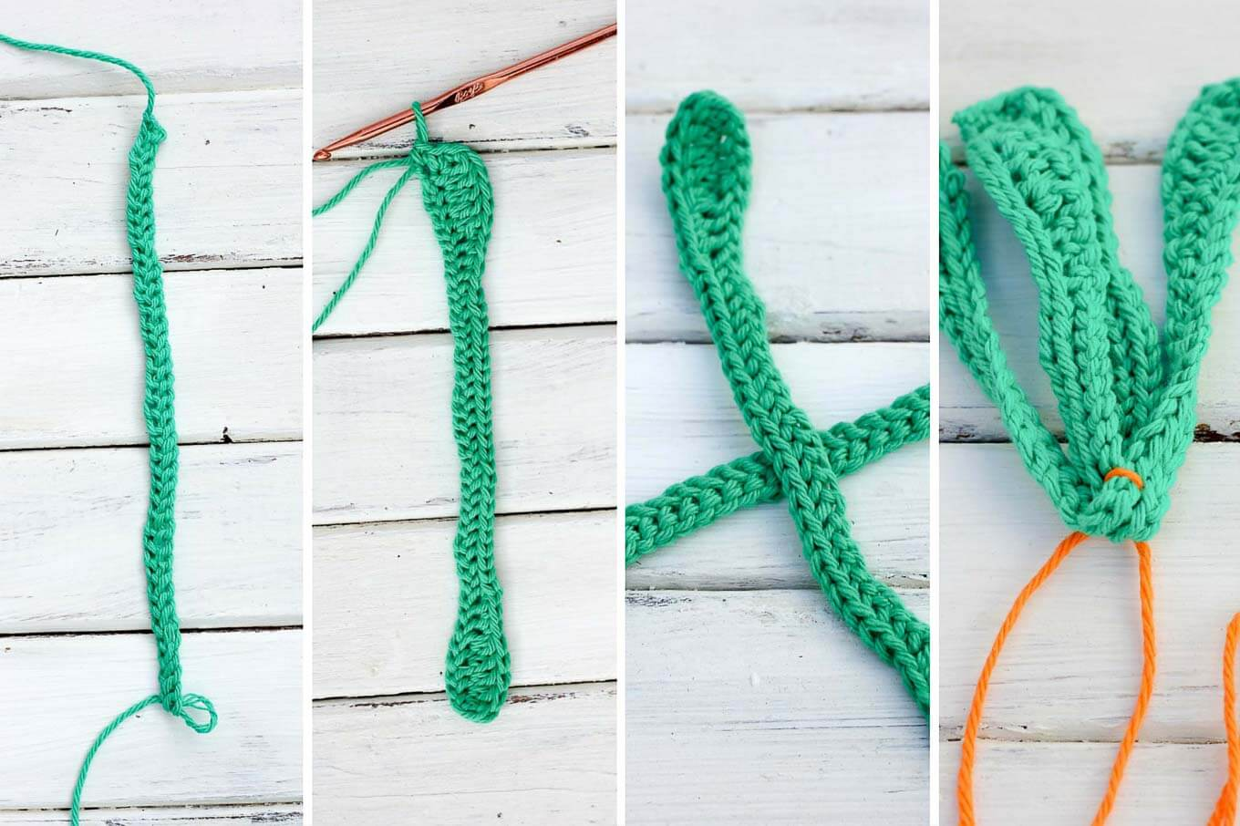 Free amigurumi carrot toy rattle pattern! This free crochet baby toy pattern makes a perfect DIY baby shower gift or Easter basket surprise, especially when paired with our free crochet bunny hat. | MakeAndDoCrew.com