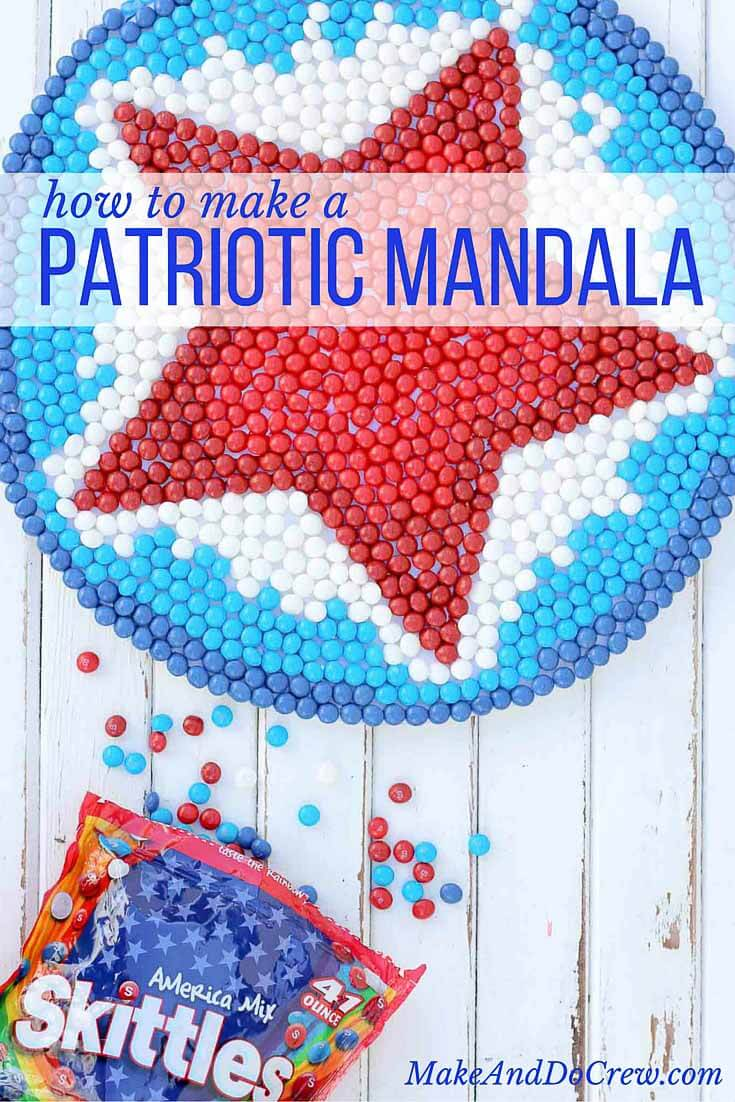 This patriotic mandala makes a festive Memorial Day, Labor Day or 4th of July party decoration idea. The red, white and blue American Mix Skittles add the perfect pop of color for this show stopping DIY decor idea.   MakeAndDoCrew.com #SkittlesAmericaMix #tastetherainbow #shop