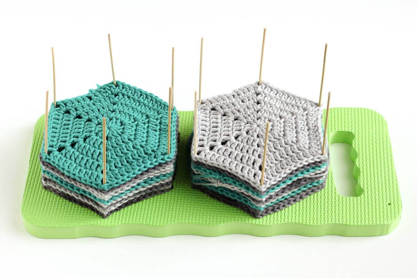 Learn how to block crochet or knit hexagons or granny squares with ...