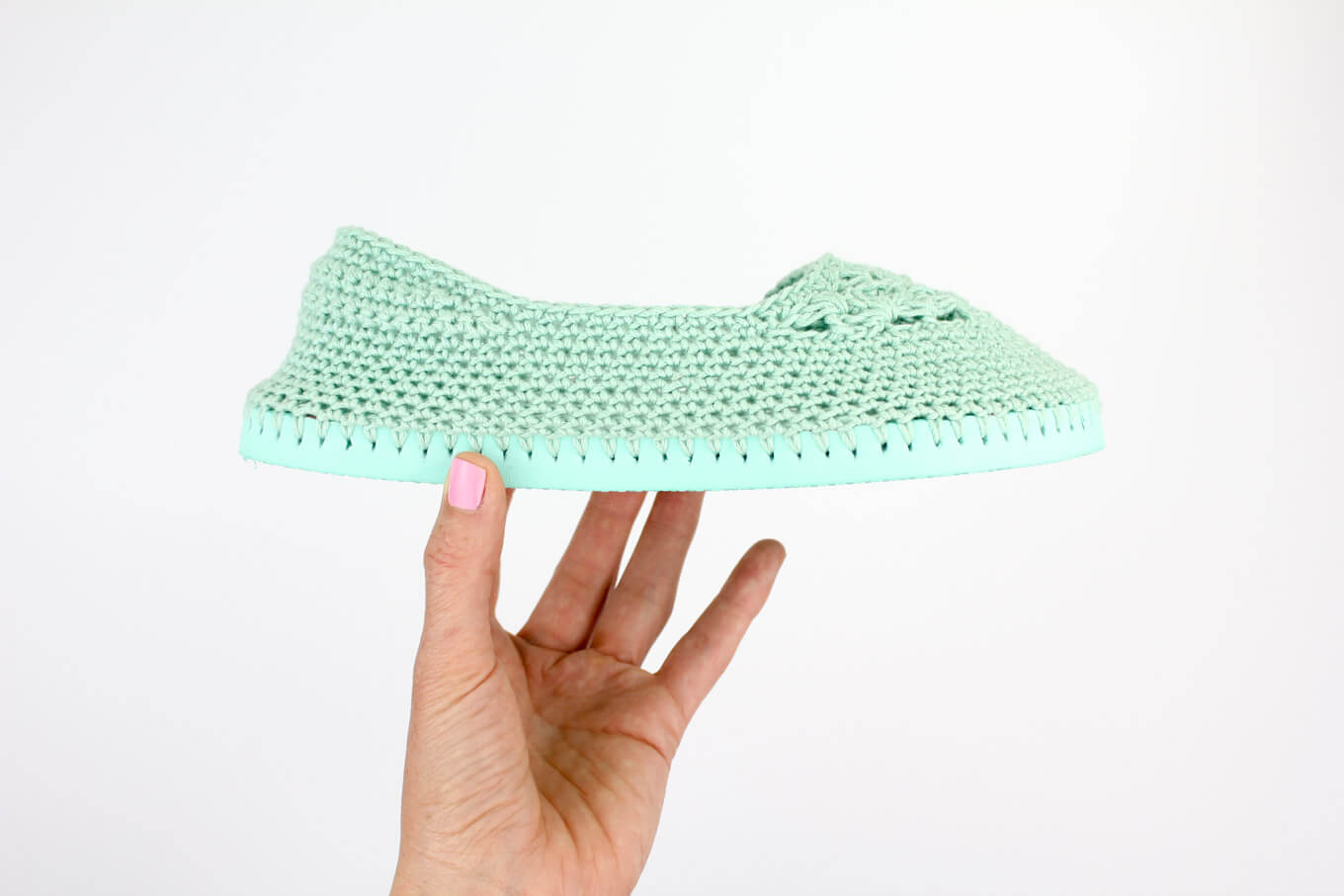 "Fun! Cotton yarn and a rubber sole make this free crochet Toms with flip flop soles pattern perfect for wearing around the house (or even outside as shoes!) Free crochet pattern and video tutorial using Lion Brand 24/7 Cotton in ""Mint""!"