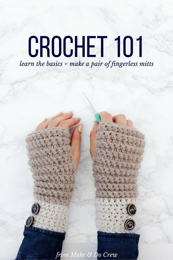 If you've ever wanted to learn how to crochet, even if you've never picked up a hook, this beginner video course is for you! Learn all the fundamentals of crochet while making a modern and cozy pair of fingerless mitts.