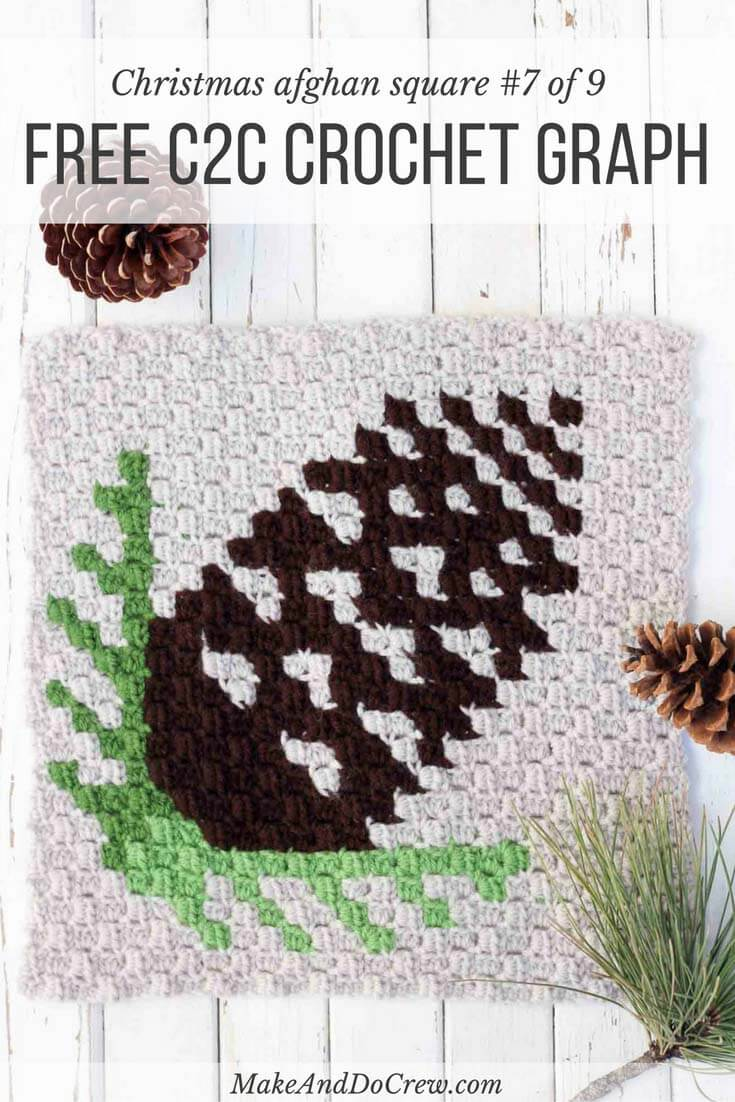 This free c2c crochet pinecone pattern makes a graphic, modern pillow or afghan square. Crochet several for cozy, rustic winter afghan or check out the rest of the Christmas corner-to-corner patterns to make a sampler afghan. Make with Lion Brand Vanna's Choice in coffee, kelly green, fern and ivory.