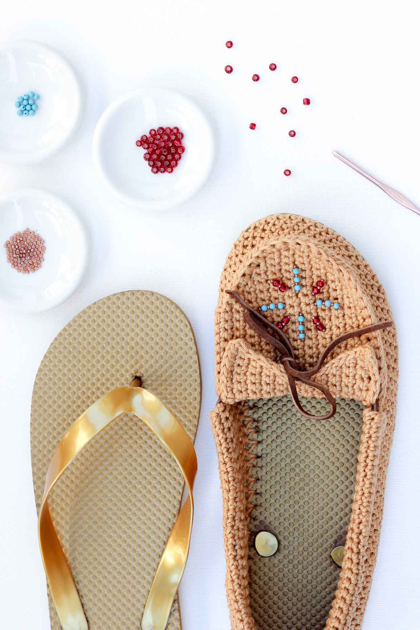 "Learn how to crochet shoes with flip flop soles with this free crochet moccasin pattern and video tutorial! These crochet moccasins make super comfortable women's shoes or slippers and can be customized however you wish. Made from Lion Brand 24/7 Cotton in ""Camel"" color. Seed beads add the perfect bohemian touch!"