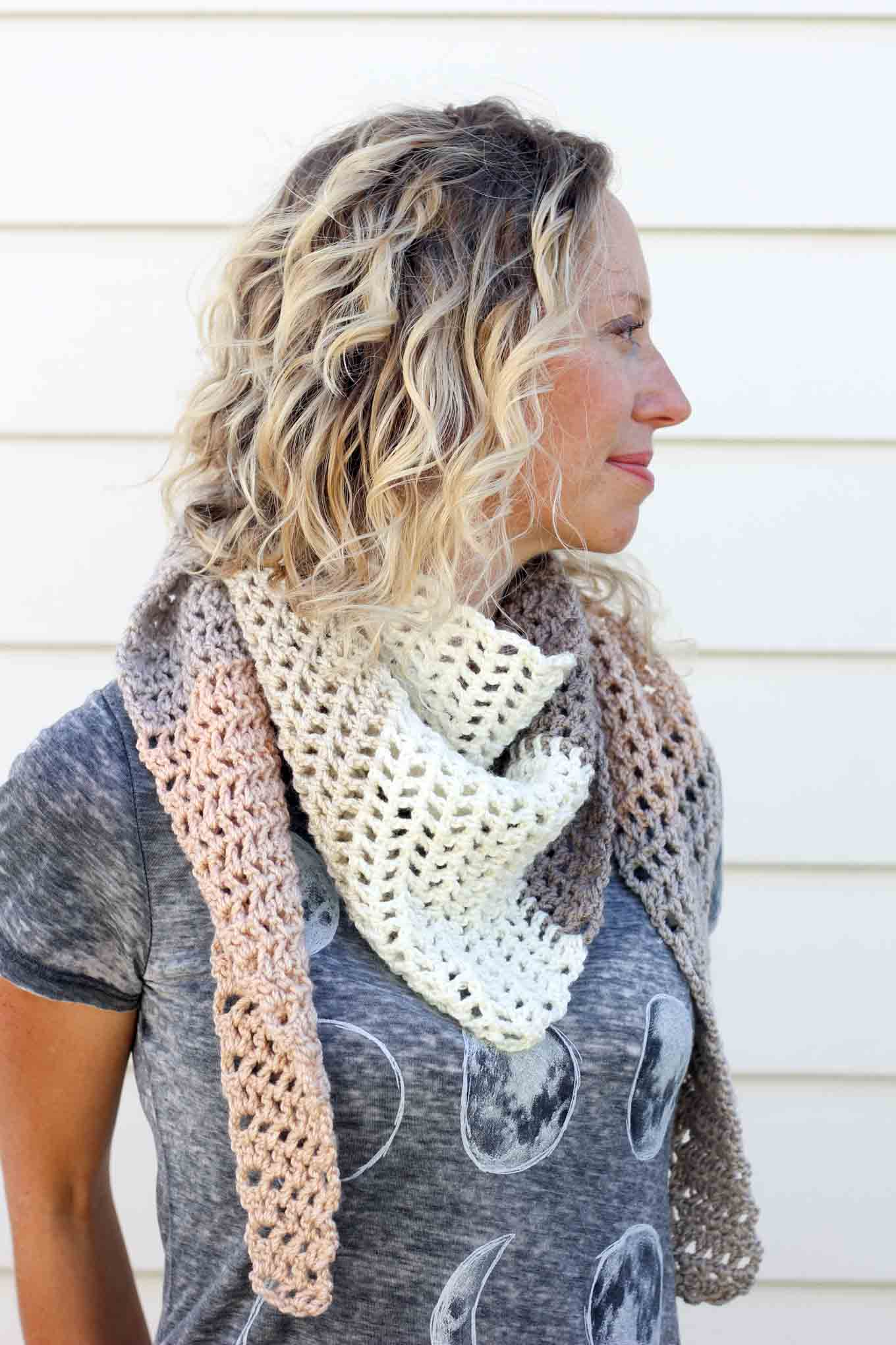 Free caron cakes crochet pattern desert winds triangle scarf toss on this modern crochet triangle scarf to head out to the desert the mountains bankloansurffo Choice Image