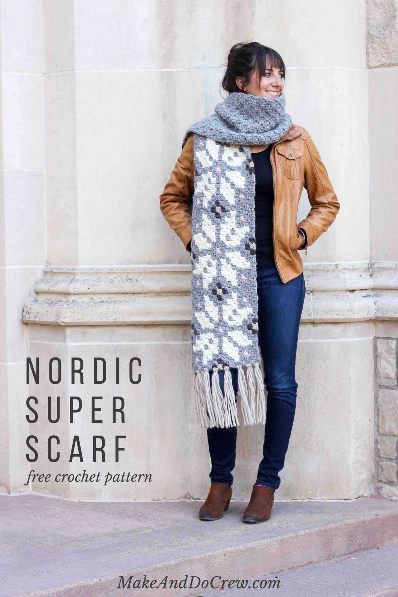 Whether you live in the North Pole or just want to jump on the super scarf trend, this nordic crochet super scarf pattern will keep you feeling warm, but lookin' hot all winter long. Click to download the free c2c graph pattern that looks like intarsia crochet.