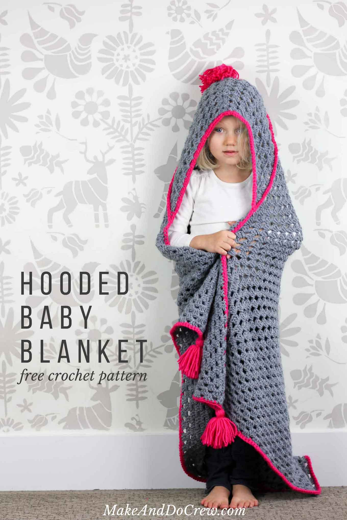 Modern Crochet Hooded Baby Blanket - free pattern for charity