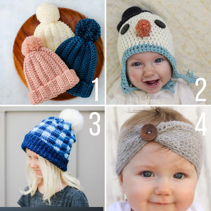 Four free crochet hat and headband patterns for babies and kids.