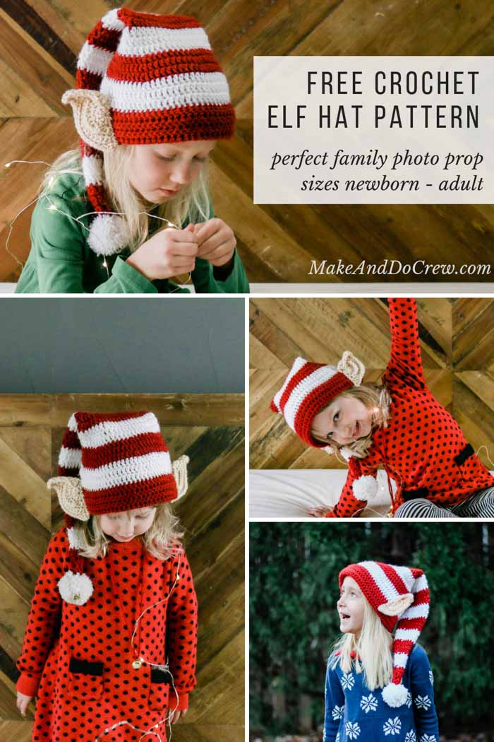 Make Santa proud with this free crochet elf hat pattern with ears! Crochet one for each member of the family. Perfect family Christmas card photo idea. Free pattern and tutorial in sizes newborn, baby, toddler, child, tween and adult.  #makeanddocrew #lionbrand #crochet #hat #beanie #santa #baby #child #kid #adult #ears #elf #christmas #gift