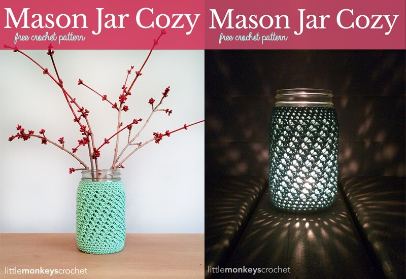 The little crochet mason jar cozies are an adorable and versitle gift. They will look so welcoming as a vase for fresh flowers or add a tealight for a beautiful lantern look.