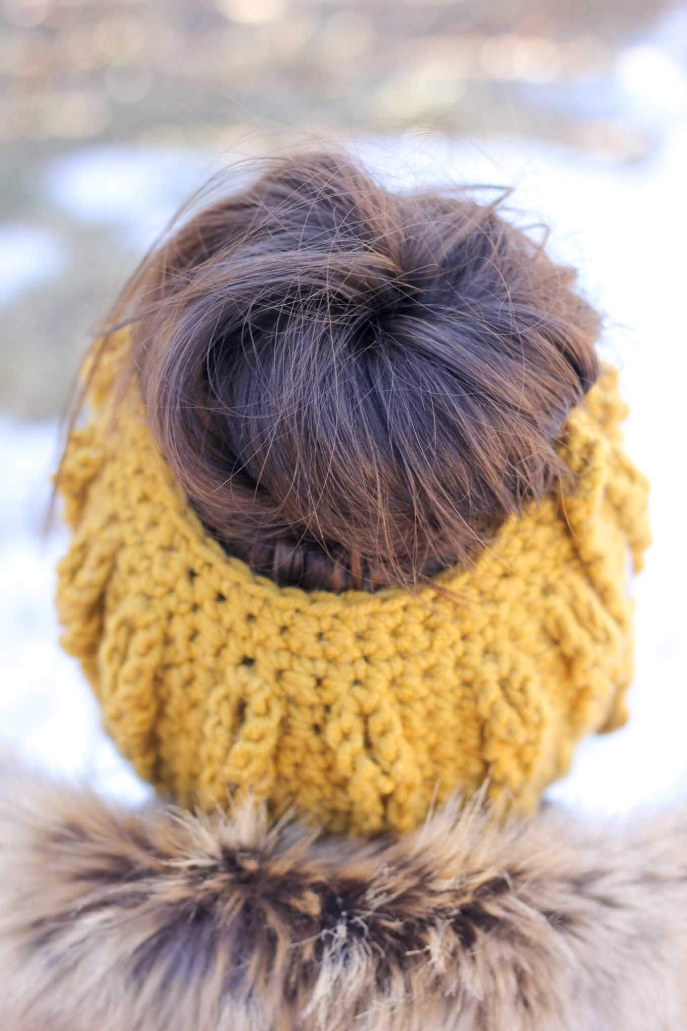 Crochet Bun Beanie with Faux Cables - Free Pattern and Video Tutorial!