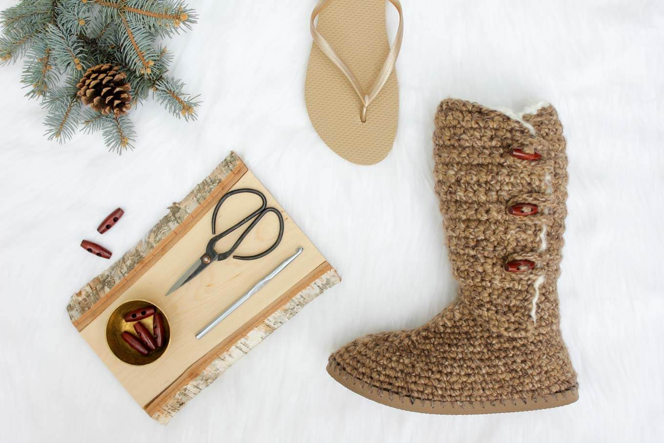 This free crochet UGGs pattern makes excellent DIY slippers or outdoor shoes. Follow the step by step video tutorial using Lion Brand Wool-Ease Thick and Quick, Vanna's Choice and Homespun Thick and Quick yarn. | MakeAndDoCrew.com