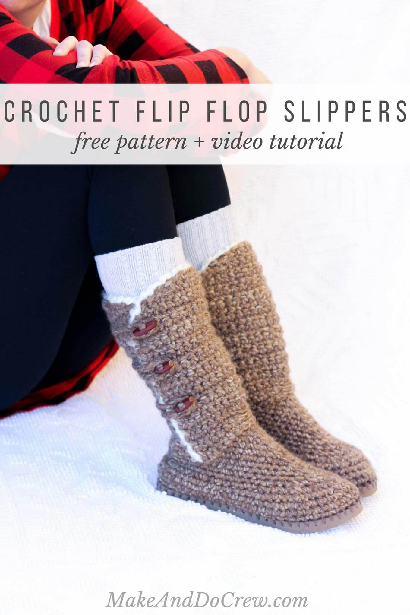"In Part 3 of the free Breckenridge Boots pattern and video tutorial, we'll add ""sheepskin"" trim and toggle buttons to finish off our crochet sweater boots. Made with Lion Brand Wool Ease Thick and Quick Bonus Bundle in ""Toffee."""