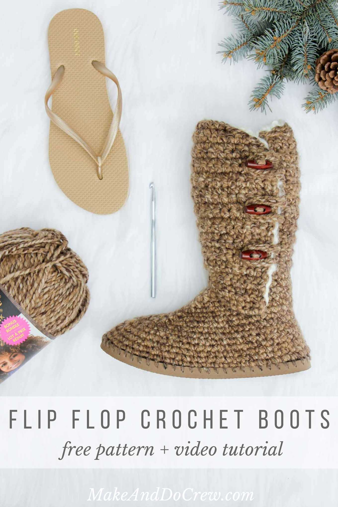 "Learn how to crochet ""Breckenridge"" UGG-style Boots with flip flop soles in Part 1 of this free crochet pattern and video tutorial. This adult-sized pattern makes super cozy slippers or even crochet shoes to wear outside. Made with Lion Brand Wool Ease Thick and Quick in ""Toffee."""
