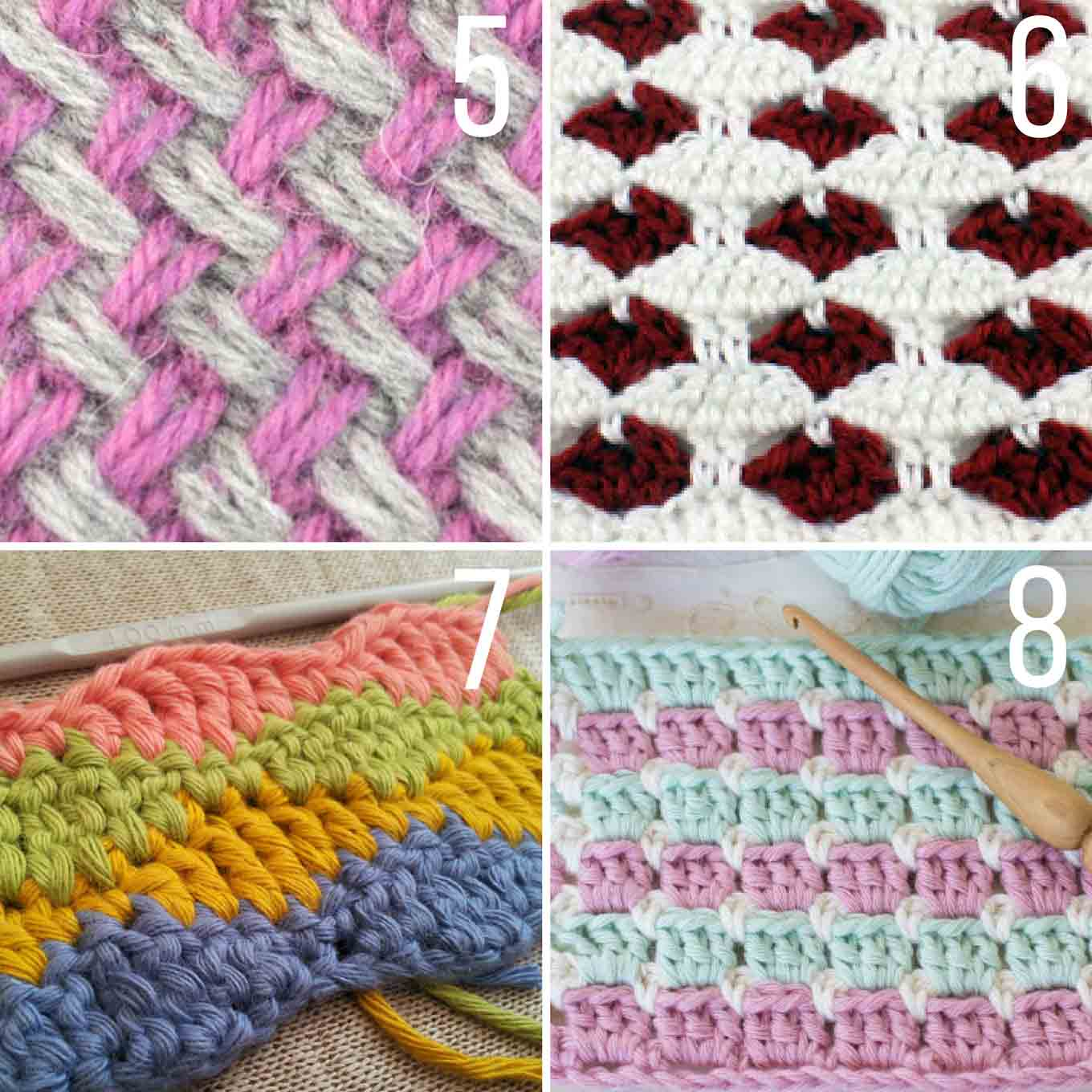 Crochet Multiple Colors : Two Color Plaited Basketweave by New Stitch a Day
