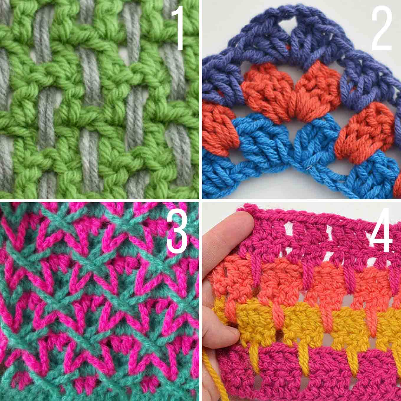 20+ Multi-Color Crochet Stitch Tutorials - Make & Do Crew