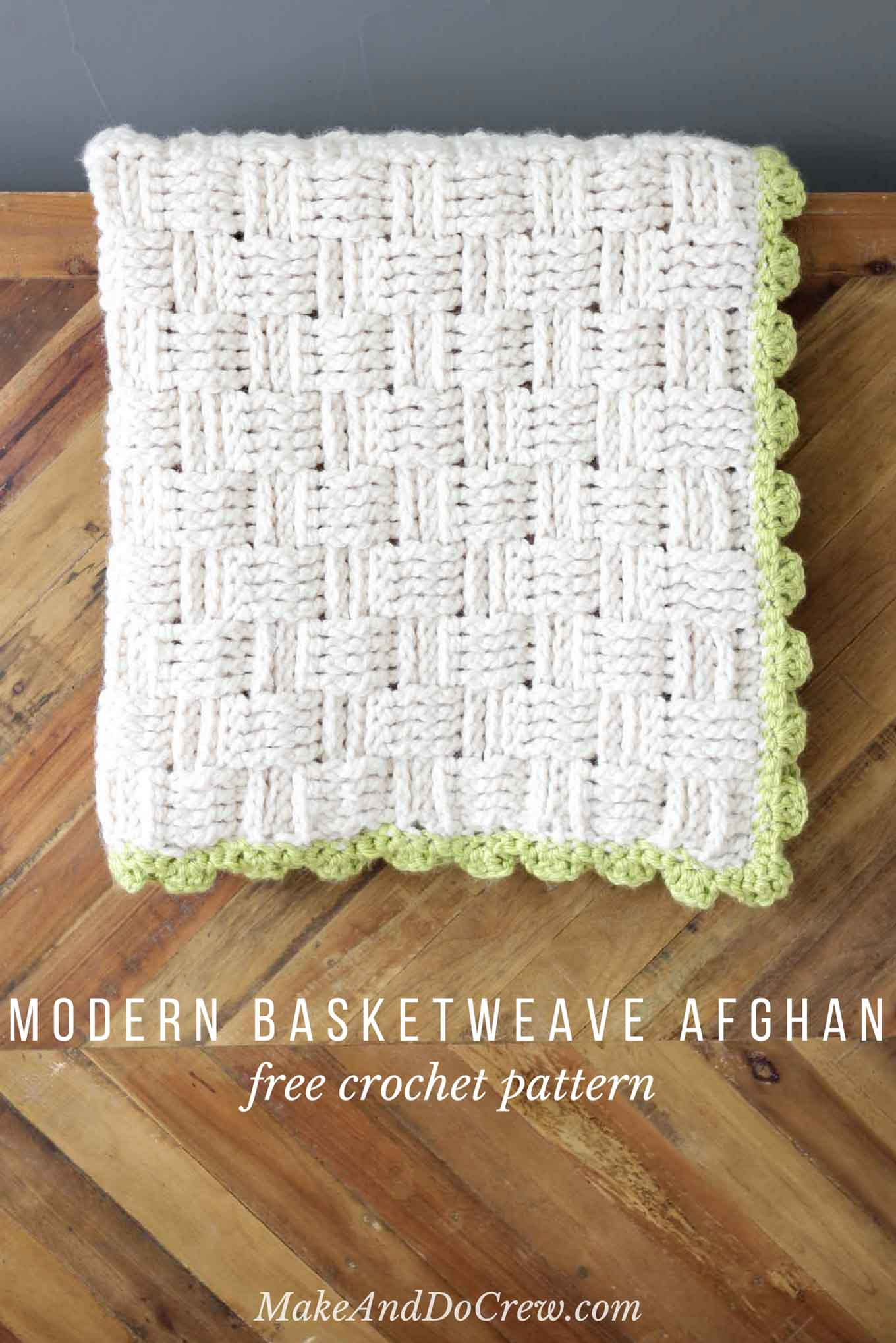 Free Printable Crochet Basket Patterns : Modern Crochet Basket Weave Blanket - Free Pattern