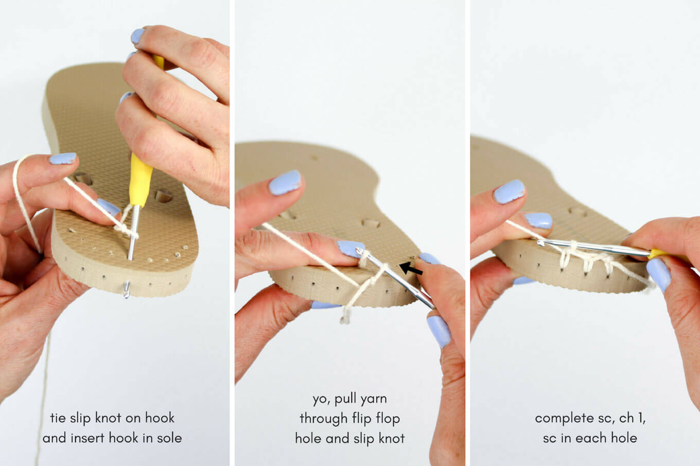 How to attach yarn to a flip flop sole for crochet boots, shoes or sandals.