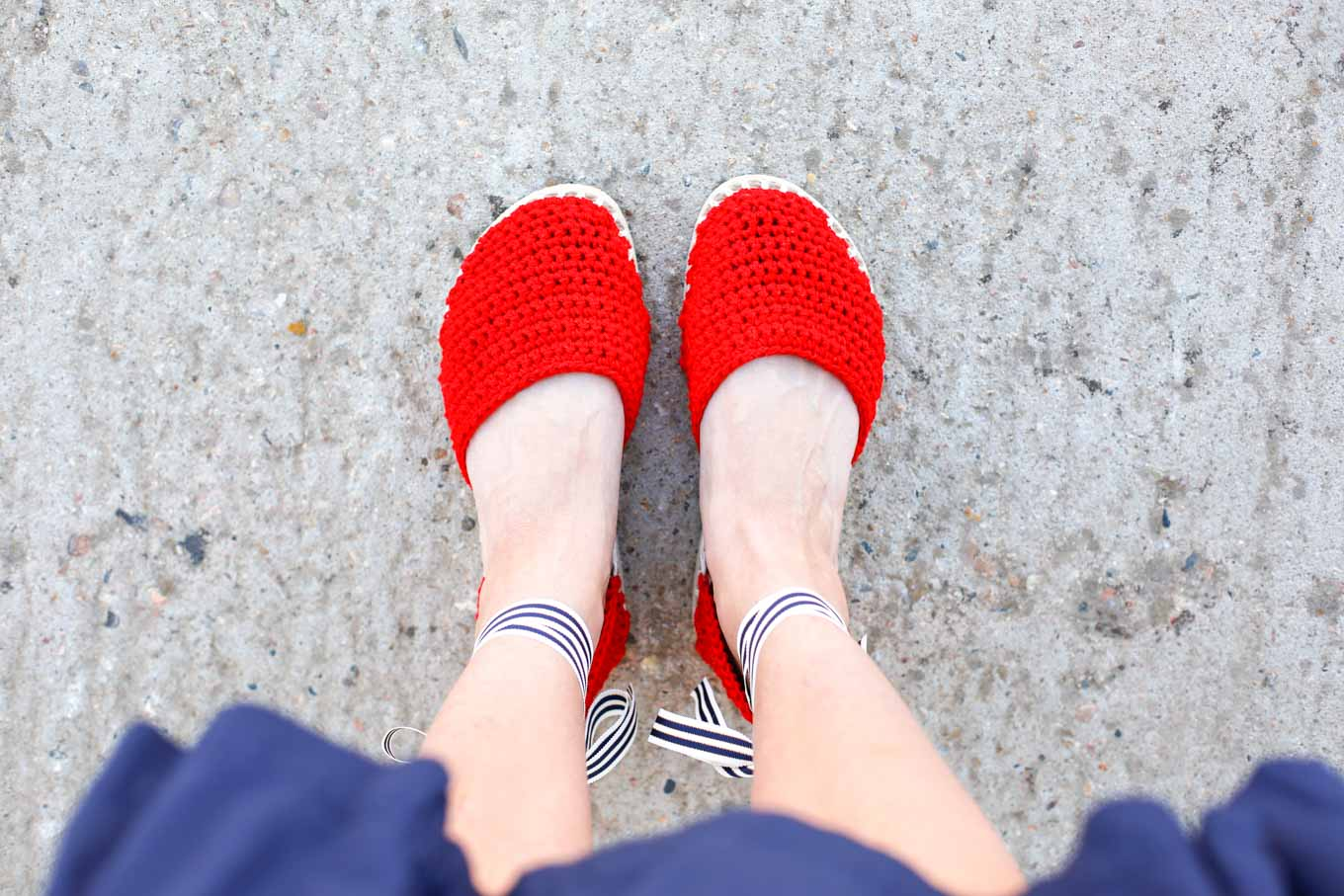 "DIY shoes! Learn how to make crochet espadrilles with flip flop soles in this free pattern and tutorial from Make and Do Crew! These crochet sandals feature Lion Brand 24/7 Cotton in ""Red."""