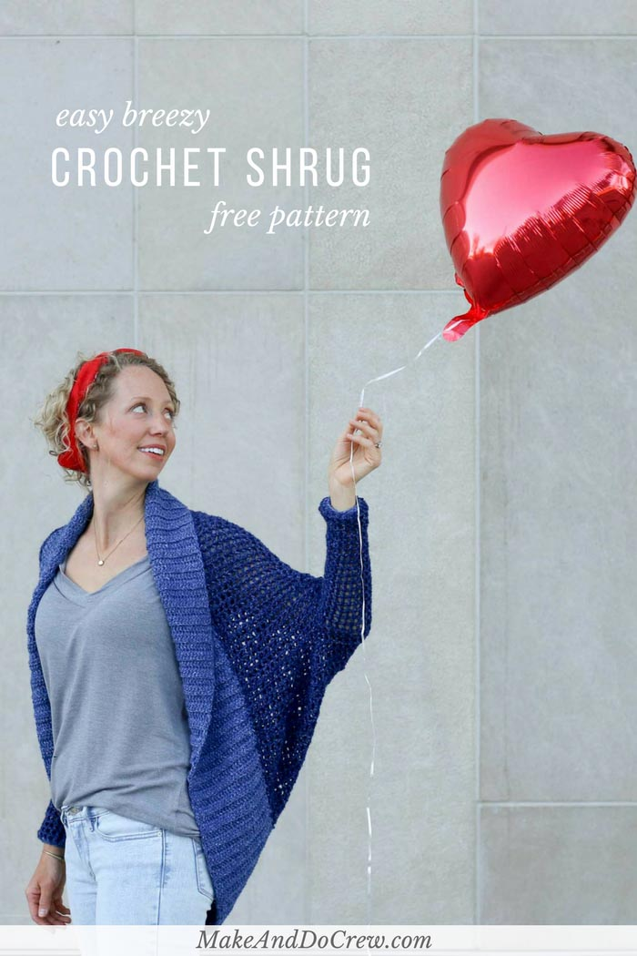 Don't let the dolman sleeves and beautiful drape fool you, this easy crochet shrug pattern is constructed with basic stitches and simple shapes. Great sweater for confident beginners! Free pattern using Lion Brand Jeans yarn.