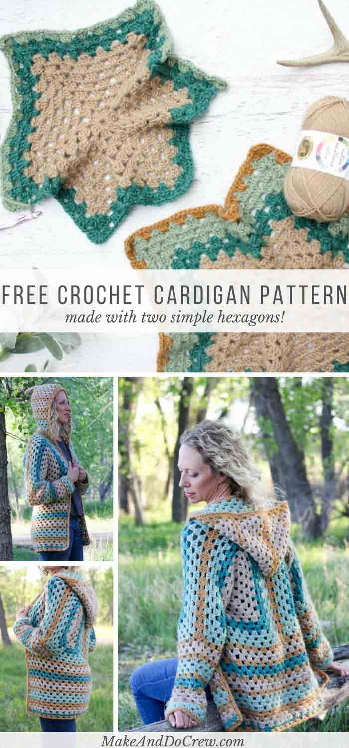 The Campfire Cardigan Free Crochet Hexagon Sweater Pattern
