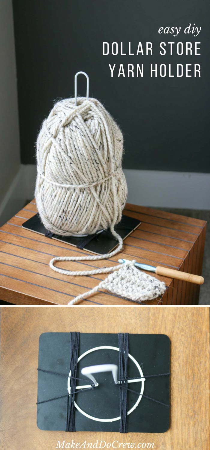 Genius! Make DIY yarn holders from simple dollar store supplies! Great for knitting or corner to corner (c2c) crochet!