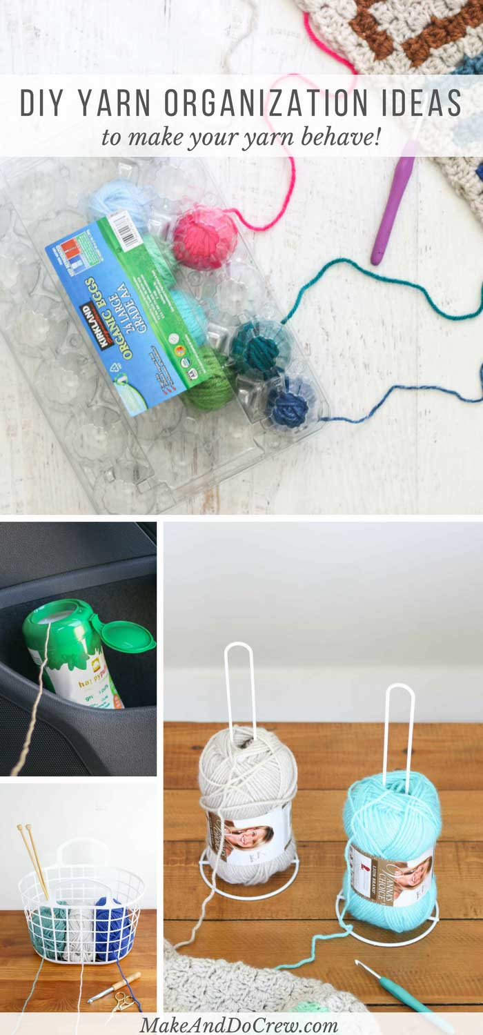 These DIY yarn holder ideas made from simple household objects will help you spend more time crocheting or knitting and less time untangling yarn!