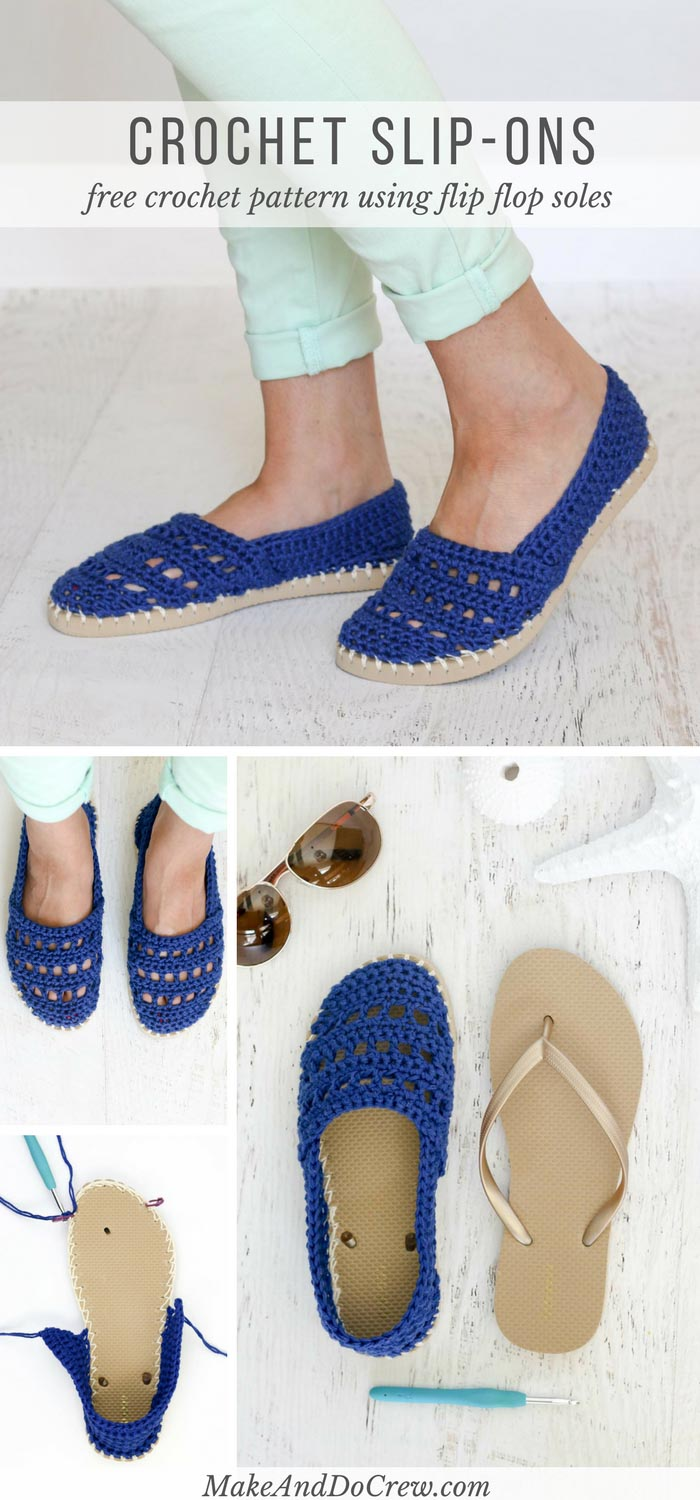These crochet slip-on shoes come together easily with cotton yarn and a pair of flip flops. Wear them to cruise the boardwalk or when frolicking on your yacht!