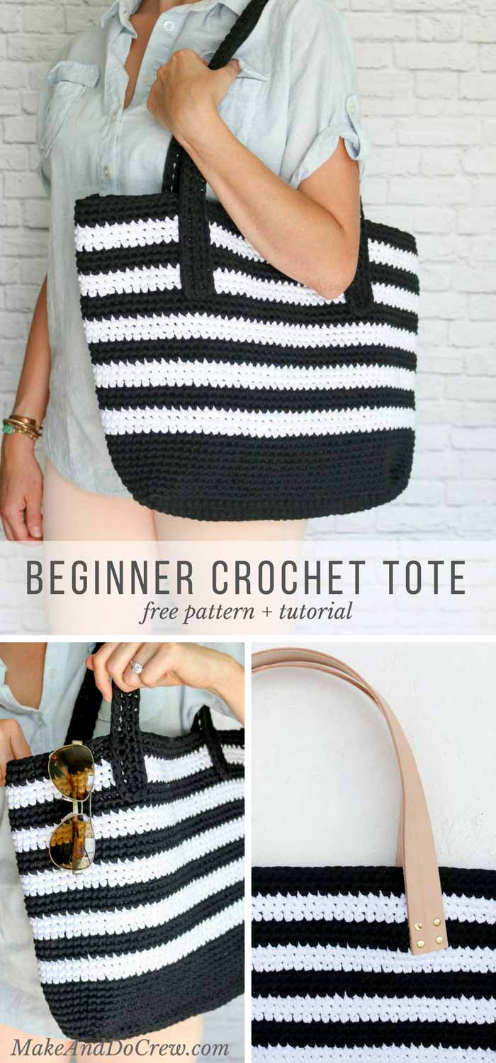 Classic meets modern in this crochet tote bag free pattern. Lion Brand Fast-Track yarn and optional leather handles elevate this easy purse--perfect for the beach, work or just general life.
