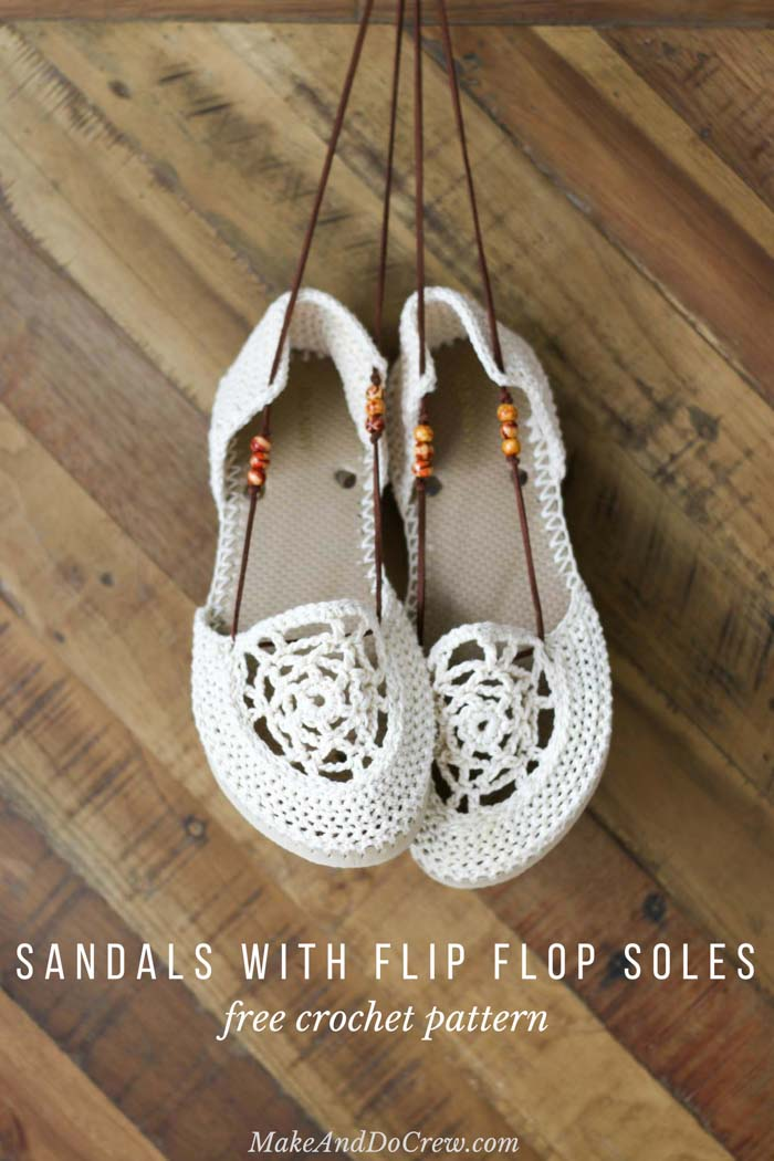 Love these! It only takes a few hours, an inexpensive pair of flip flops and less than a skein of Lion Brand 24/7 Cotton to upgrade your summer footwear with these bohemian crochet sandals with flip flop soles.