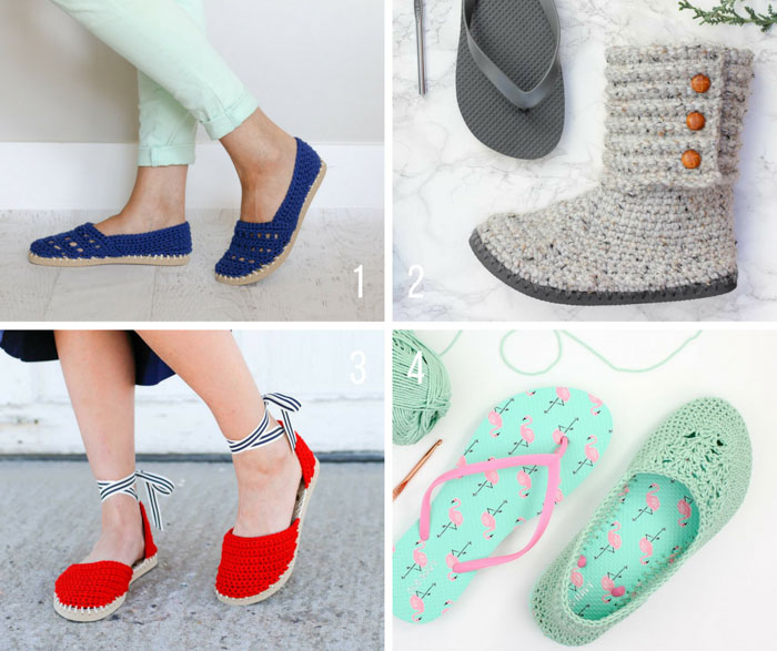 So many free crochet patterns using flip flops and Lion Brand Yarn. Crochet your own boots, sandals, moccasins, espadrilles and slippers! Patterns from MakeAndDoCrew.com.