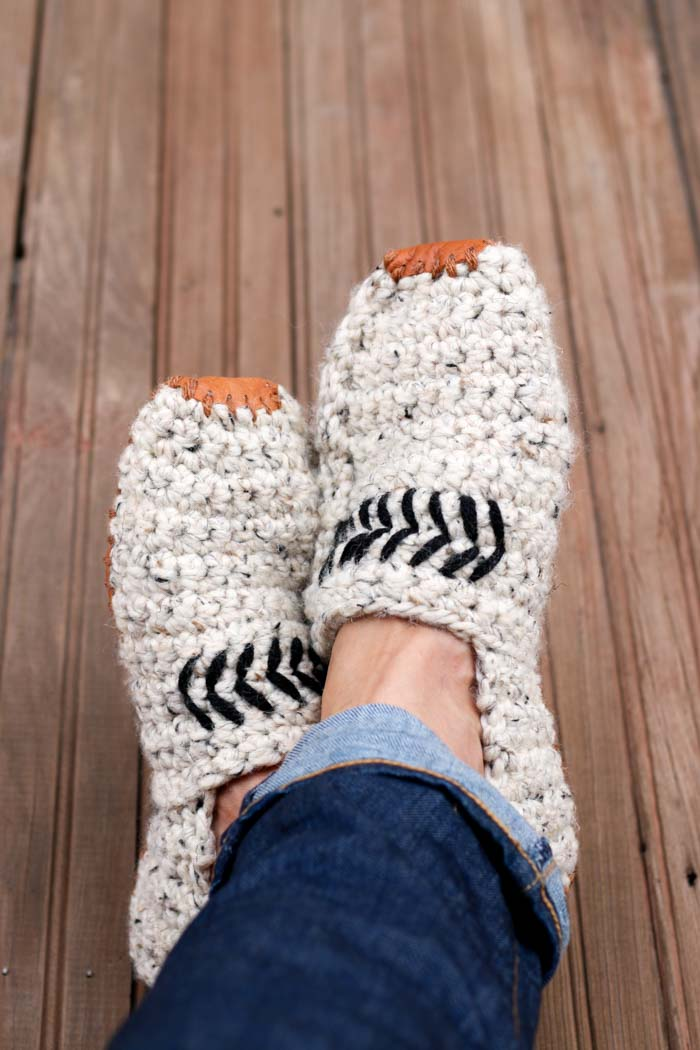Modern Mens Crochet Slippers With Leather Soles Free Pattern