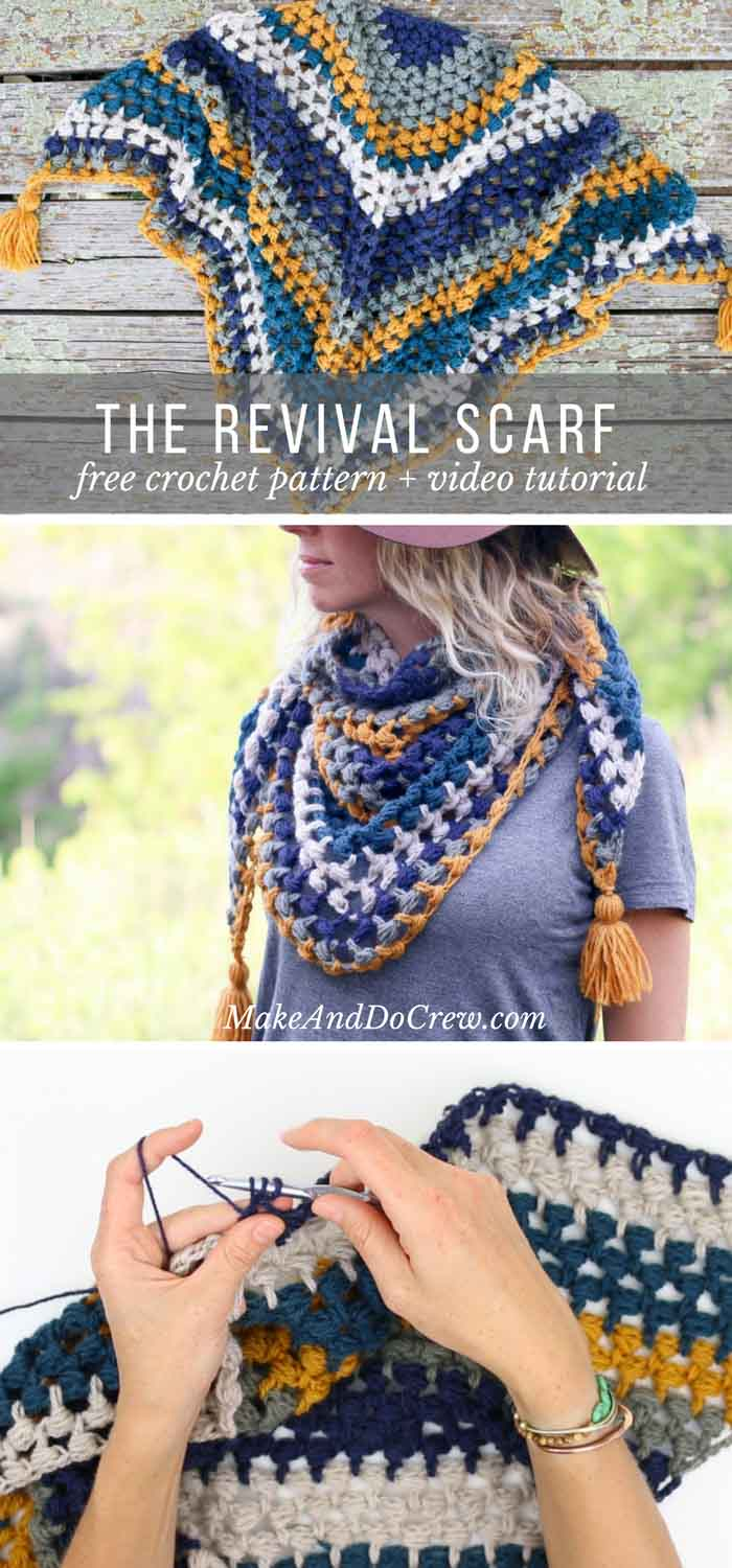 The revival crochet triangle scarf free pattern and video tutorial worked in a vintage inspired palette and full of texture this triangle scarf with baditri Images