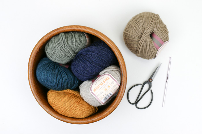 Lion Brand L.B. Collection Merino Yak Alpaca in the colors Oatmeal, Navy, Teal, Mustard, Sage and Taupe. Great fall color palette!