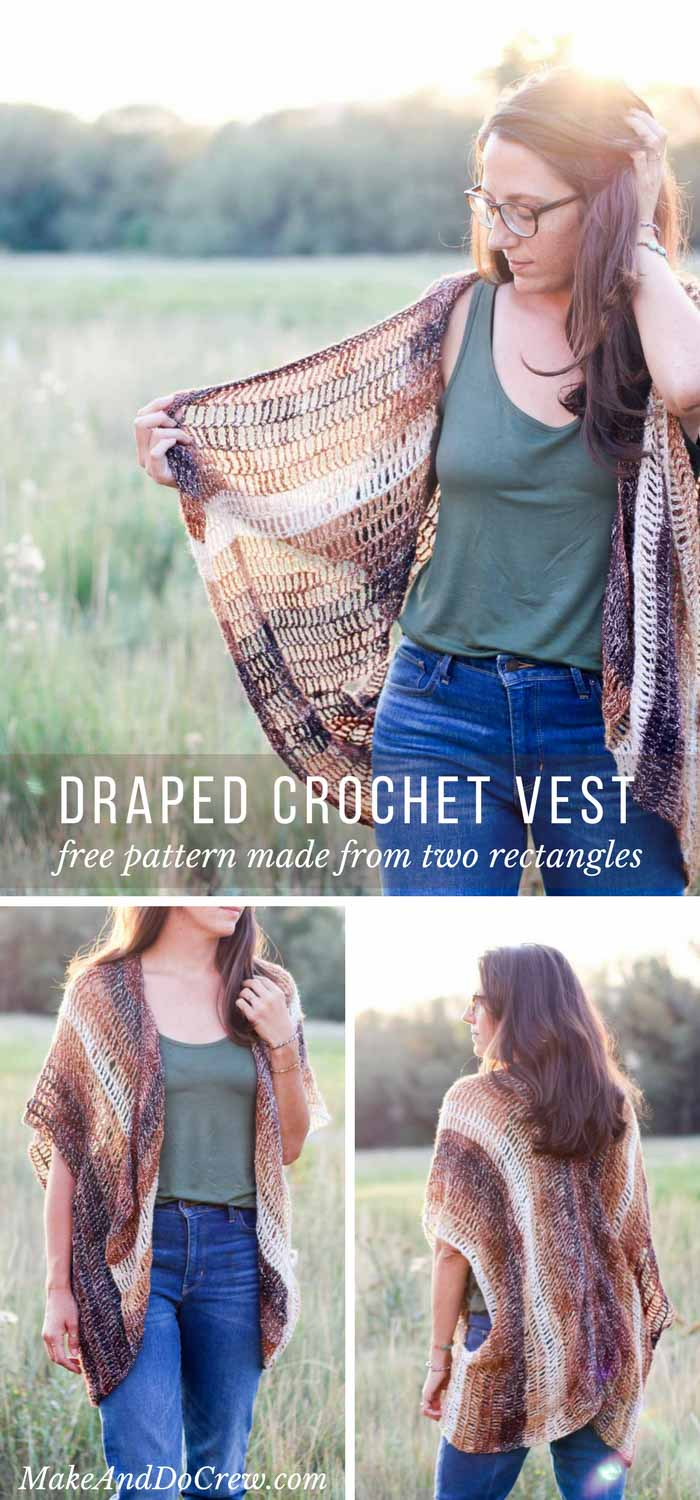 Wow! Gorgeous neutrals and a slight shimmer make this oversized, draped free crochet vest pattern as stunning as it is versatile. Great modern, beginner project!