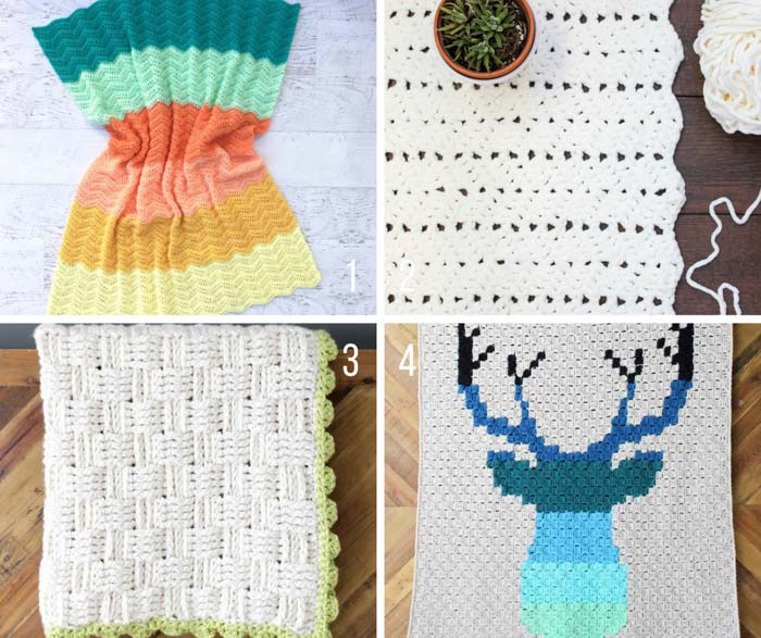 Free crochet blanket patterns for babies, bedrooms and couch throws.