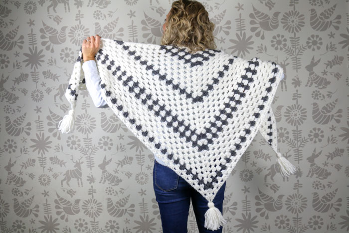 Newsprint Crochet Granny Stitch Shawl Free Pattern From Make Do Crew
