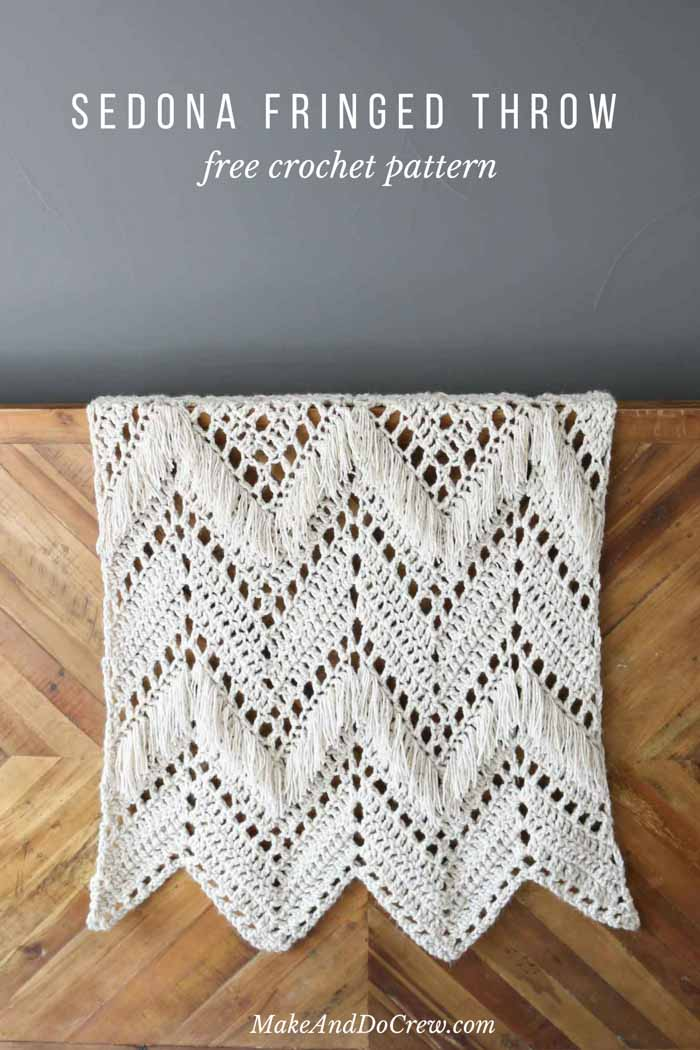 Monochromatic doesn't have to be boring! In this modern fringed crochet ripple blanket free pattern, two weights of Lion Brand Wool-Ease yarn combine to add instant style and texture to any room of your house.
