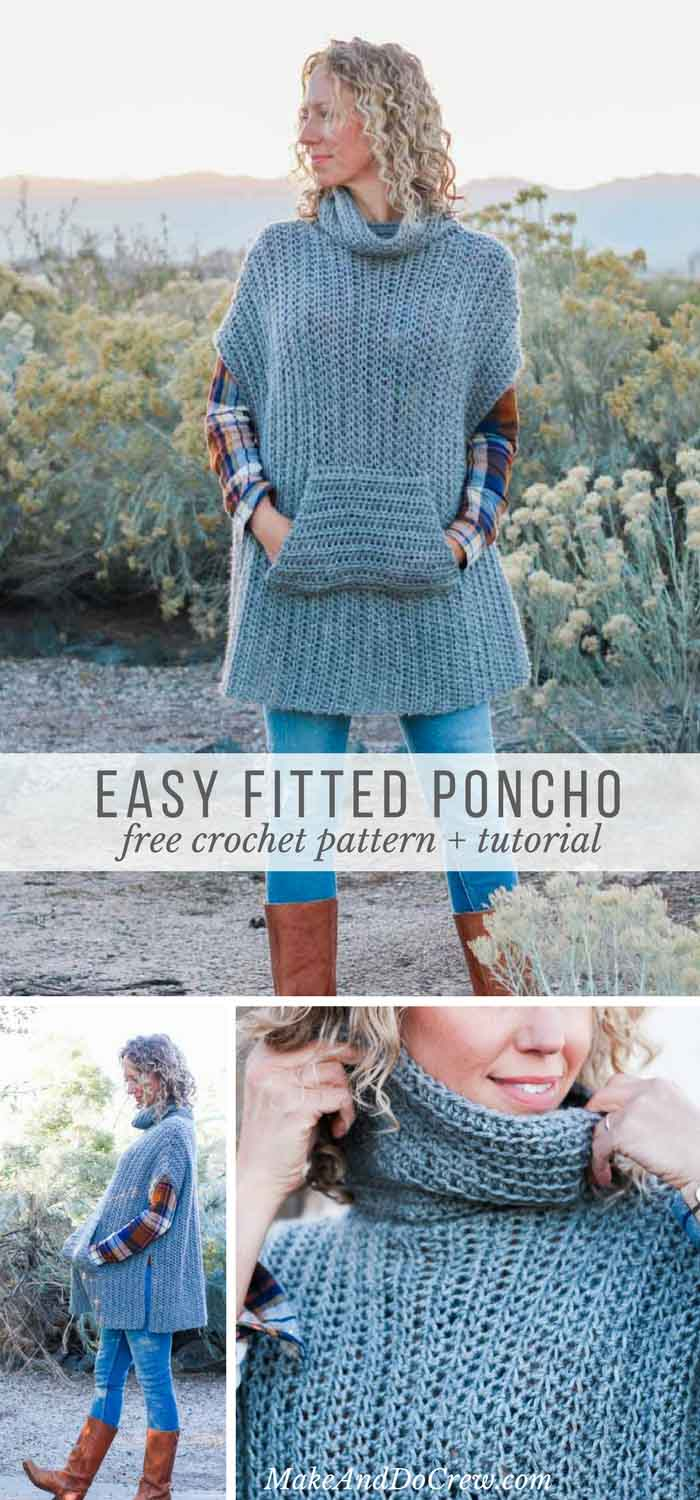 Love! This modern free crochet poncho pattern is a little more fitted than most, offering a versatile wardrobe staple that's perfect for layering. Free pattern and tutorial!
