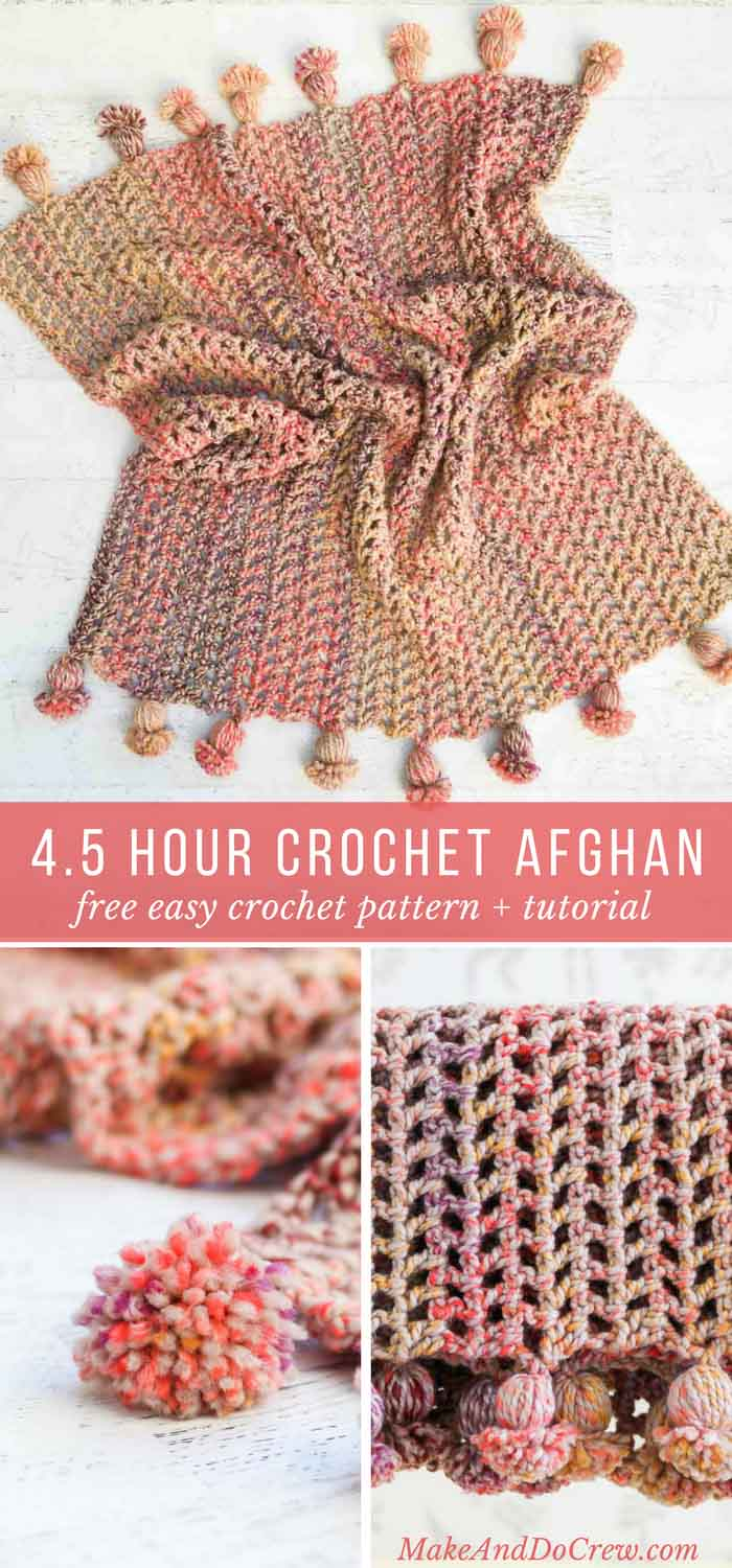 This is the fastest crochet afghan ever! You can make the entire blanket, including tassels in less than five hours. This free pattern and tutorial is perfect for beginning crocheters.