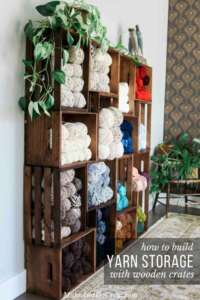 This yarn storage changed my life! Use wooden crates to build an easy shelf to organize your yarn, craft room or books. Perfect for knitters, crocheters and weavers!