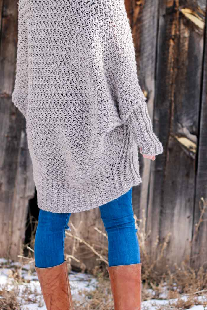 b8092f670 A cozy crochet cardigan sweater with long dolman sleeves. Perfect sweater  pattern and tutorial for
