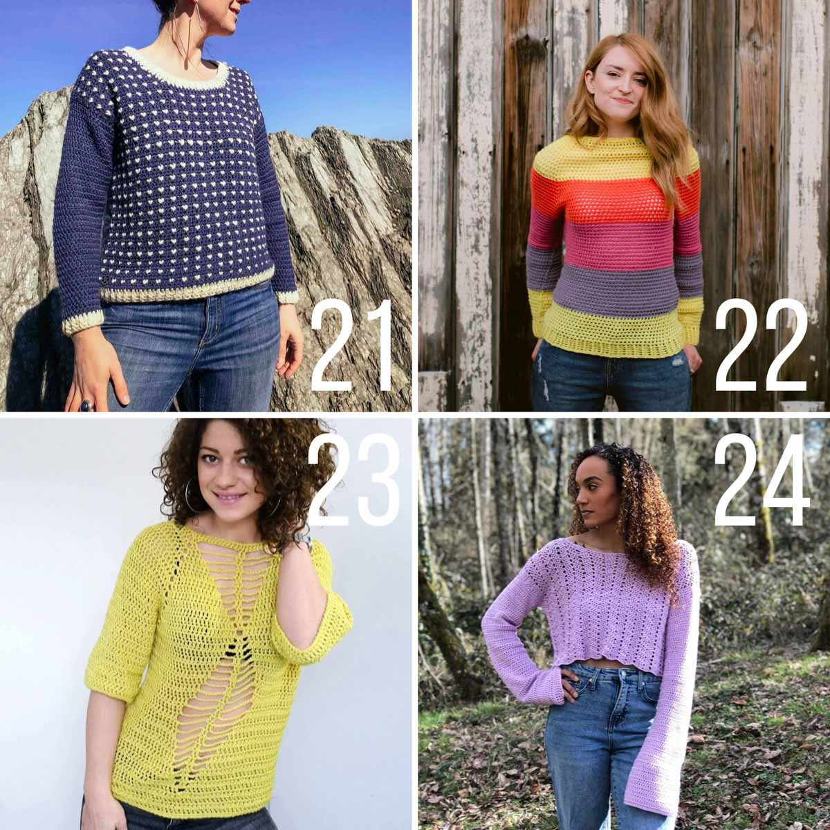 Four colorful crochet sweater patterns that are perfect for the warmer weather of spring and summer.