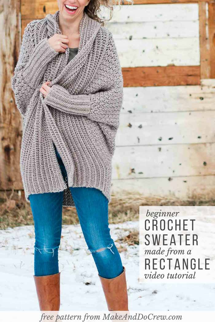 Learn how to make an easy cardigan from a simple rectangle in this beginner crochet sweater video tutorial. Follow along with the free crochet pattern from Make & Do Crew featuring Lion Brand Heartland yarn.