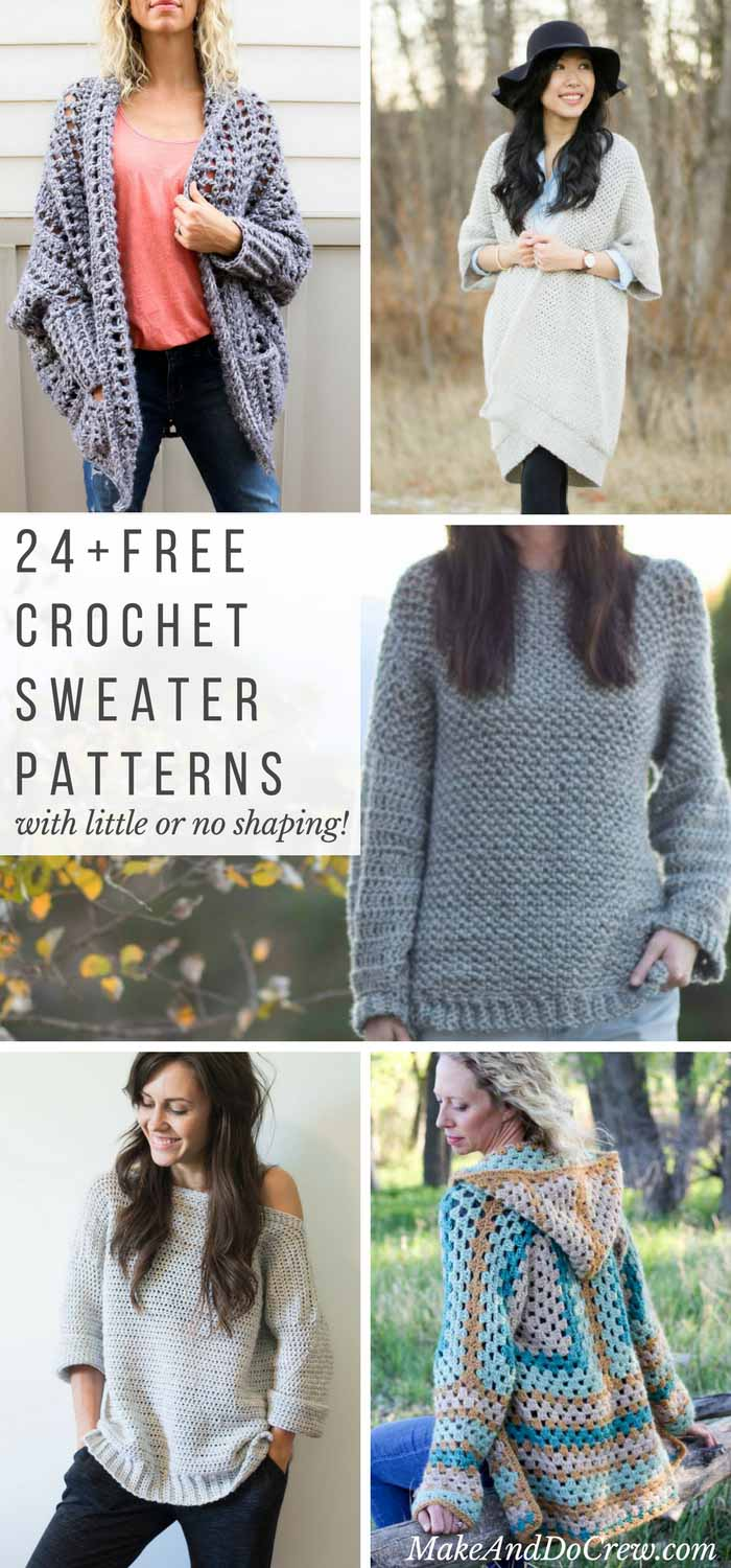 24 Super Easy Free Crochet Sweater Patterns Make Do Crew