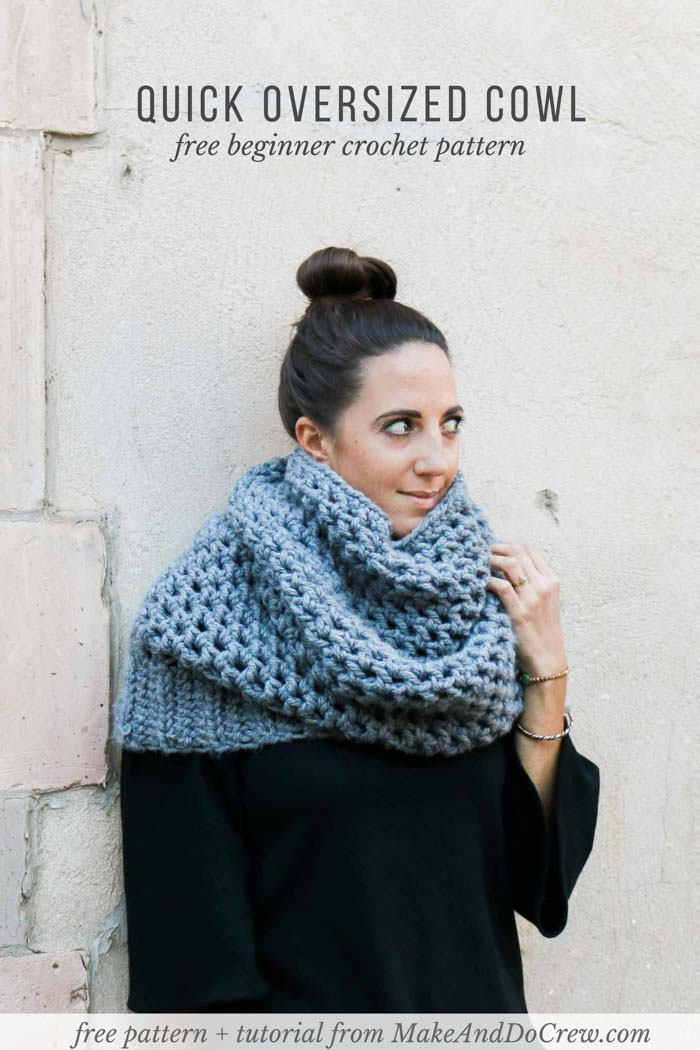 This quick crochet cowl pattern makes a beautifully oversized, chunky scarf. Wear it as a neck warmer or like a hood and either way you'll be super cozy and stylish! Free crochet pattern featuring Lion Brand Thick & Quick Bonus Bundle from Make and Do Crew.